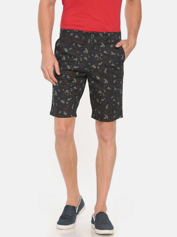 t-base navy cotton camo printed basic short