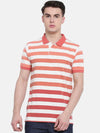 t-base Red Polo Neck Striped T-Shirt
