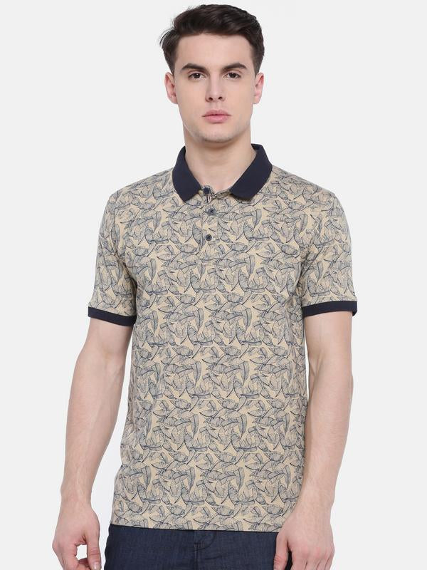 t-base Beige Polo Neck Printed T-Shirt