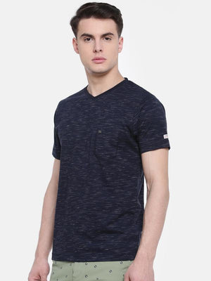 t-base Blue V-Neck Solid T-Shirt