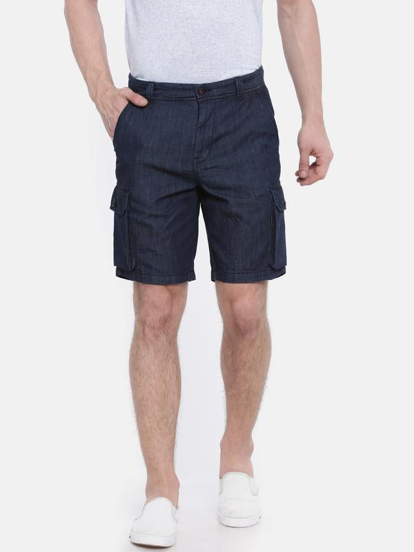 t-base denim solid cargo short