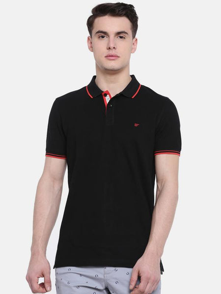 t-base Black Polo Neck Solid T-Shirt