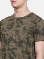 t-base Olive Crew Neck Printed T-Shirt