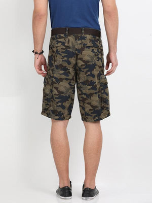 t-base olive cotton printed cargo short