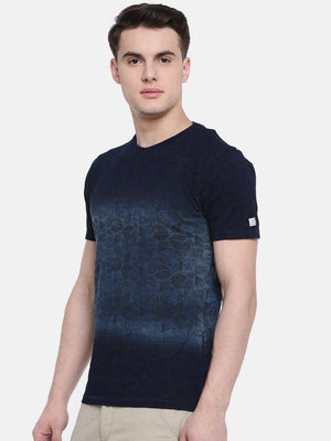 t-base Blue Crew Neck Printed T-Shirt