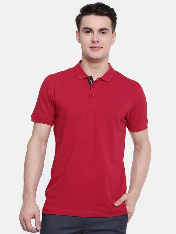 t-base Red Polo Neck Solid T-Shirt