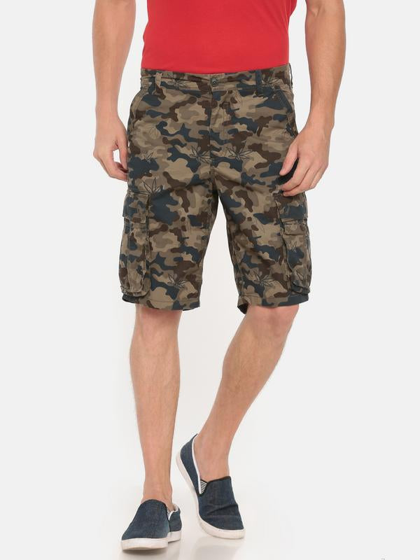 t-base olive cotton camo printed cargo short