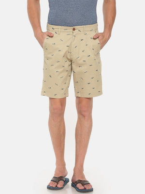 t-base beige cotton printed chino short