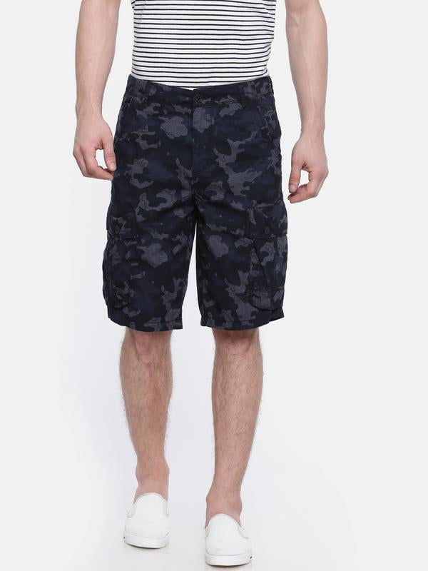 t-base blue cotton camo printed cargo short
