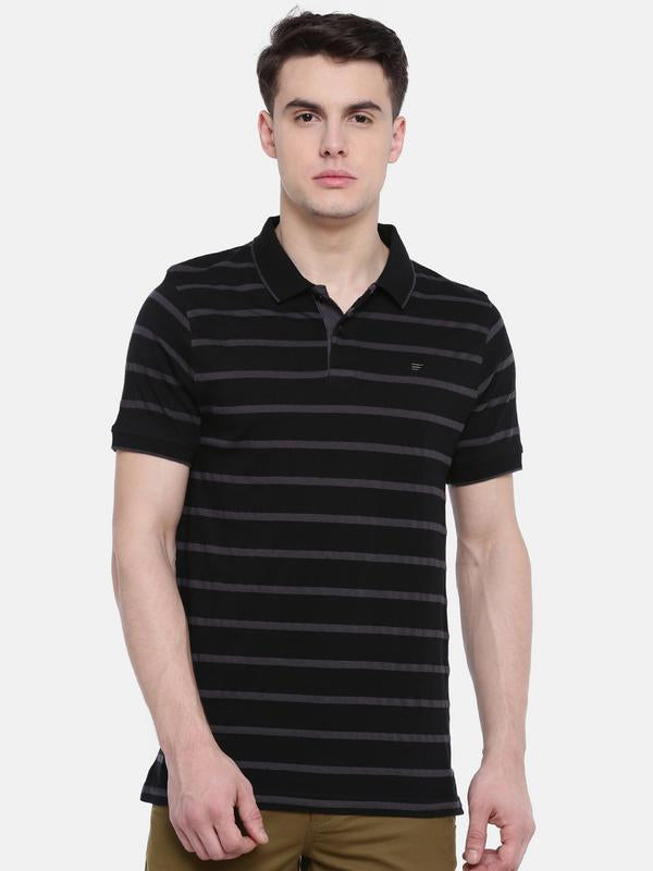 t-base Black Polo Neck Striped T-Shirt