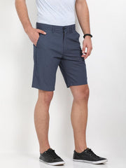 t-base blue cotton printed basic short