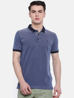 t-base Navy Polo Neck Solid T-Shirt