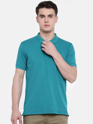 t-base Green Polo Neck Solid T-Shirt