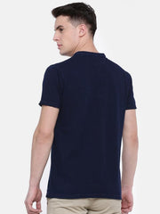t-base Blue Henley Neck Solid T-Shirt