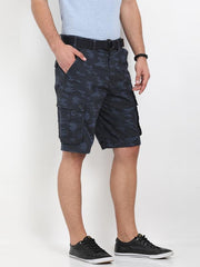 t-base navy blue cotton printed cargo short