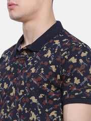 t-base Olive Polo Neck Printed T-Shirt
