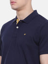 t-base Blue Polo Neck Solid T-Shirt
