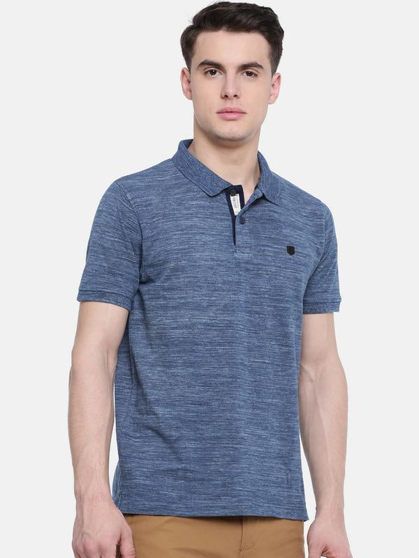 t-base Blue Polo Neck Self Design T-Shirt