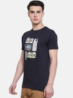 t-base Grey Crew Neck Printed T-Shirt