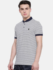 t-base Off-White Polo Neck Striped T-Shirt