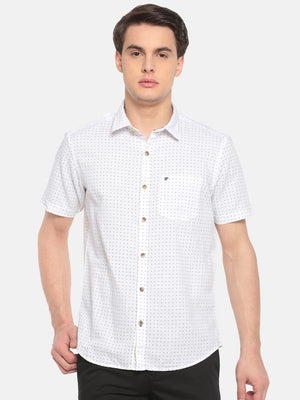 t-base White Printed Cotton Linen Casual Shirt