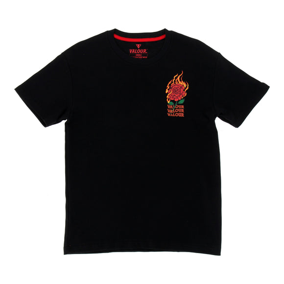 Valour Flaming Rose Streetwear T-Shirt (Black)