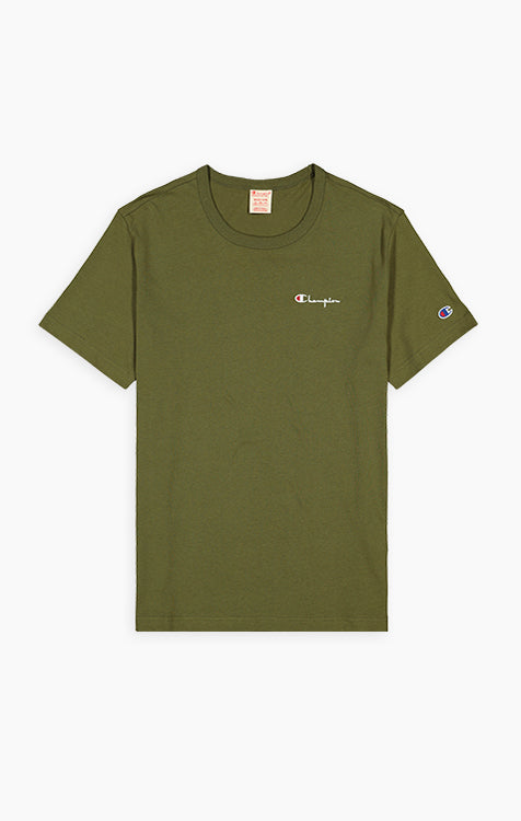 Champion Small Script Embroidered Logo Crew Neck T-Shirt (Army Green)