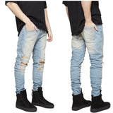 Tattered Ripped Knee Denim Jeans (Black)