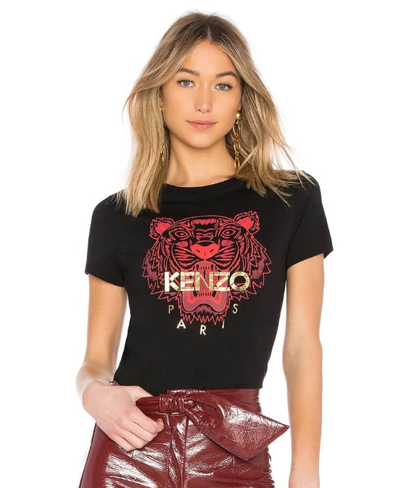 Kenzo Women's Red Tiger Tee (Black)