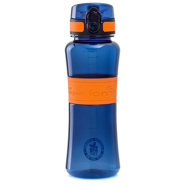 Ion8 Leak Proof Sports Water Bottle, 550ml / 20oz, Navy & Orange - Leakproof.co.uk