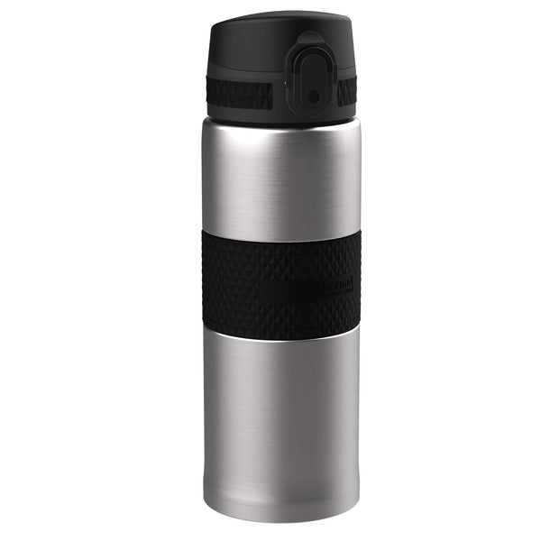 Ion8 Leak Proof Steel Flask, Vacuum Insulated, Sparkling Steel Black, 360ml