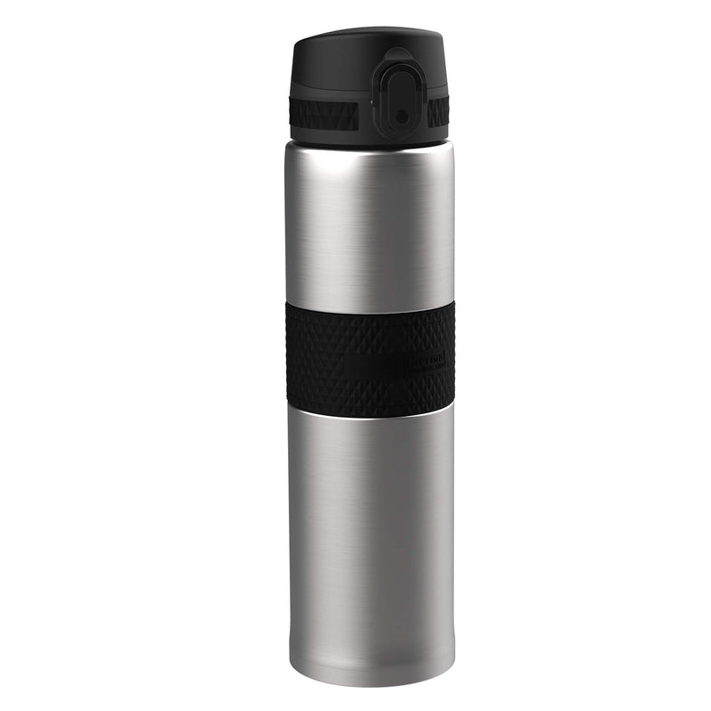 Ion8 Leak Proof Steel Flask, Vacuum Insulated, Sparkling Steel Black, 480ml