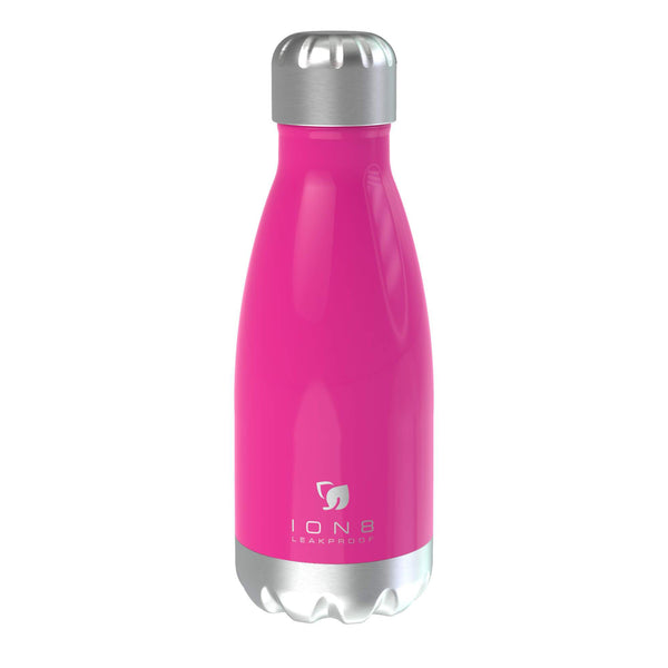 Ion8 Leak Proof Steel Vacuum Flask / Water Bottle 280ml / 10oz, Pink - Leakproof.co.uk