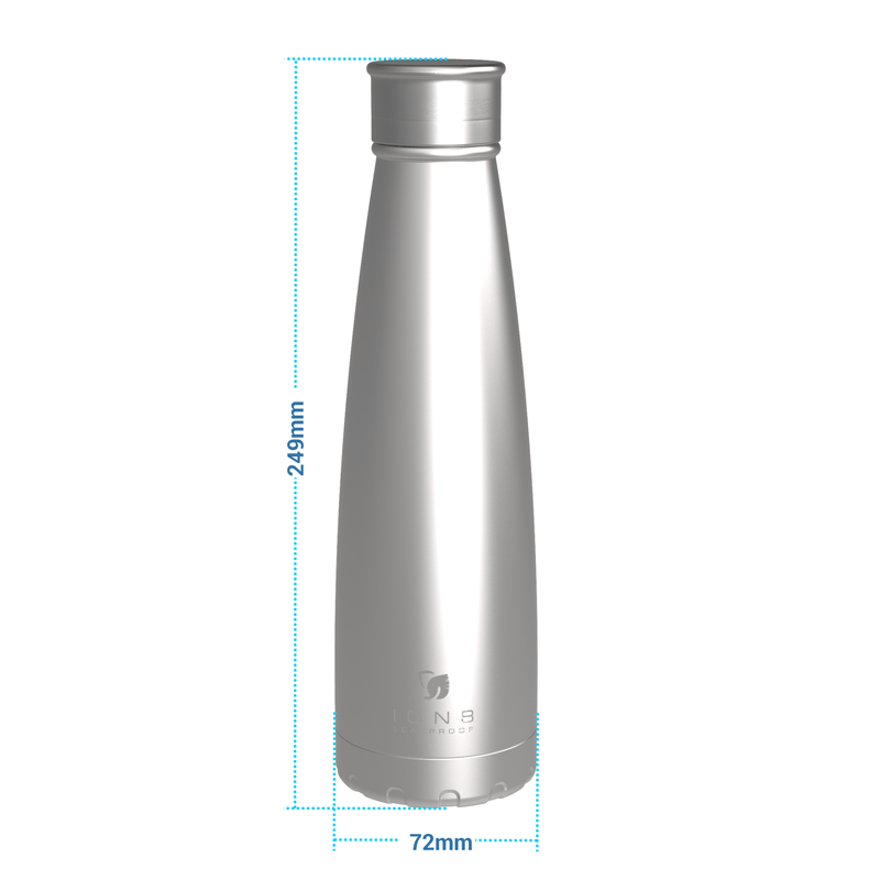 Ion8 Leak Proof Steel Vacuum Flask / Water Bottle, 450ml / 15oz, Black - Leakproof.co.uk