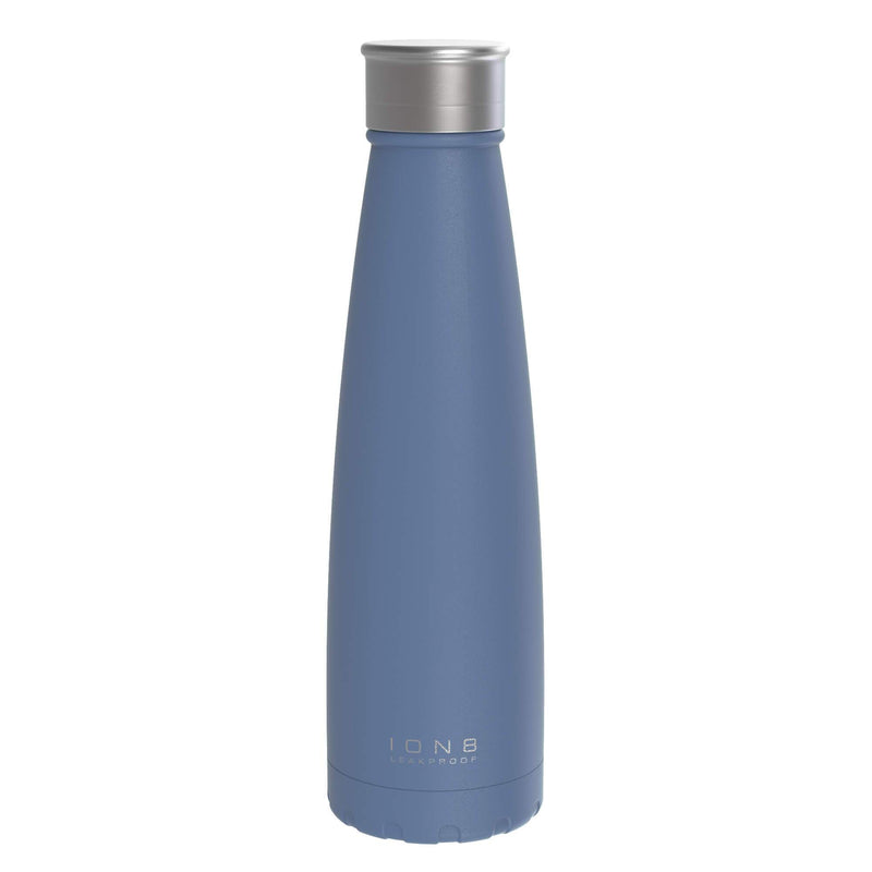 Ion8 Leak Proof Steel Vacuum Flask / Water Bottle, 450ml / 15oz, Palace Blue - Leakproof.co.uk