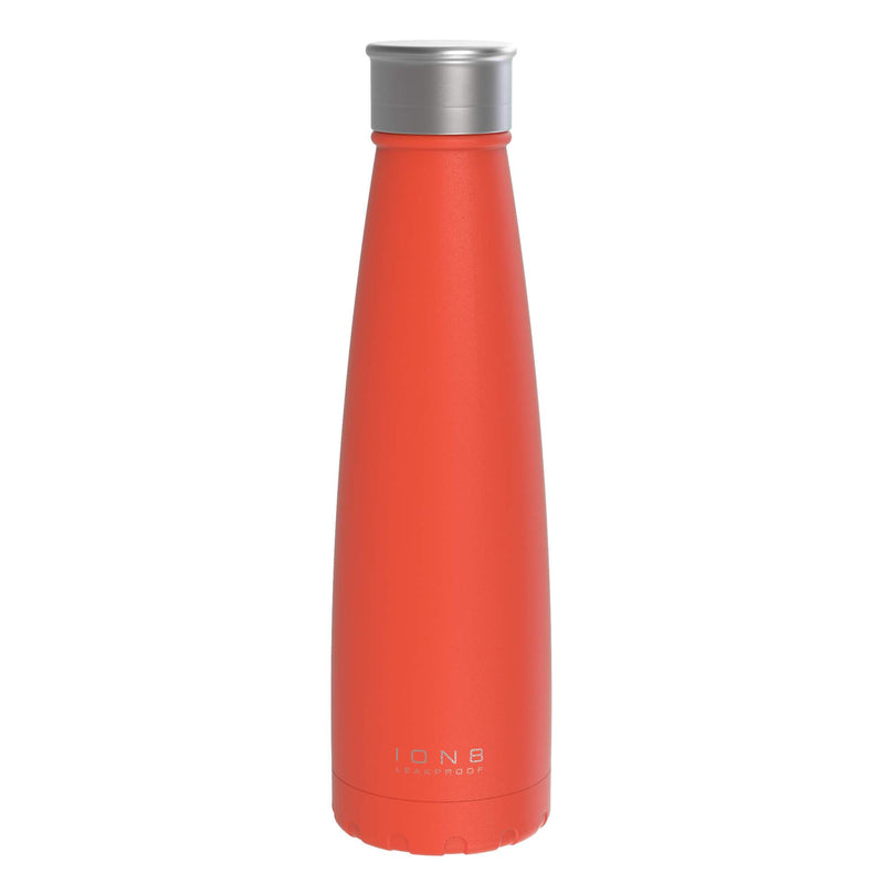 Ion8 Leak Proof Steel Vacuum Flask / Water Bottle, 450ml / 15oz, Cherry Tomato - Leakproof.co.uk
