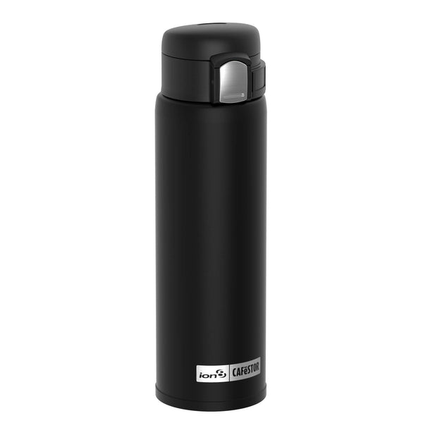 Ion8 CaféStor Leak Proof Thermal Insulated Stainless Steel Water Bottle, 480ml / 16oz, Black