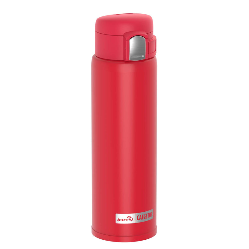 Ion8 CaféStor Leak Proof Thermal Insulated Stainless Steel Water Bottle, 480ml / 16oz, Red