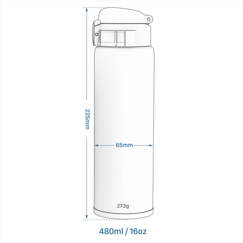 Ion8 CaféStor Leak Proof Thermal Insulated Stainless Steel Water Bottle, 480ml / 16oz, Pink