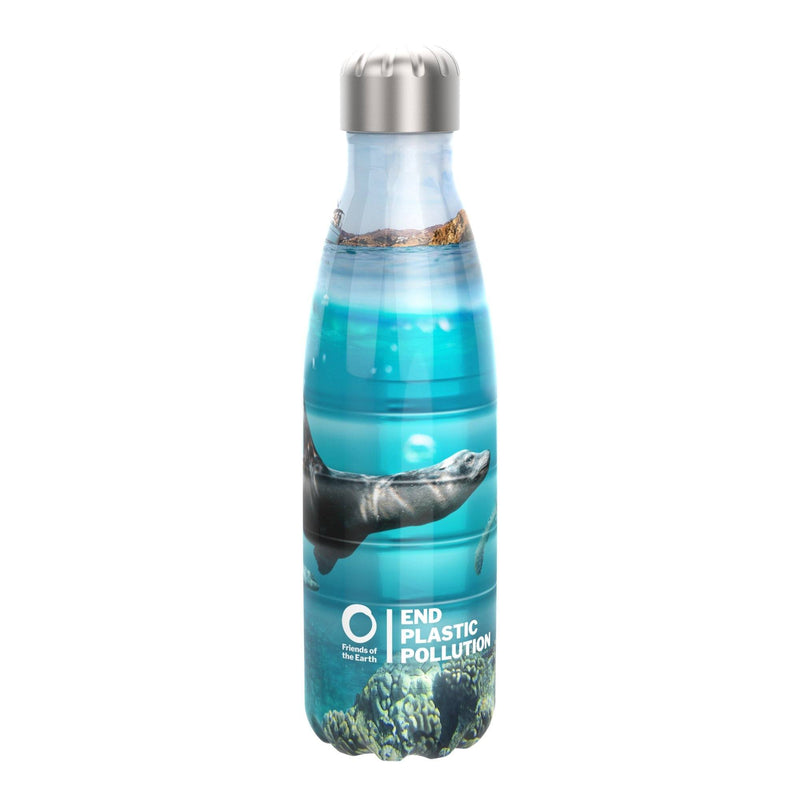 Ion8 Friends Of The Earth Steel Water Bottle, Vacuum Insulated, Seals, 500ml