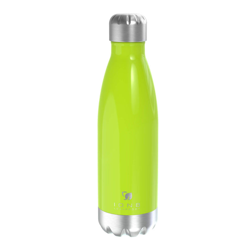 Ion8 Leak Proof Steel Vacuum Flask / Water Bottle 500ml / 17oz, Green - Leakproof.co.uk