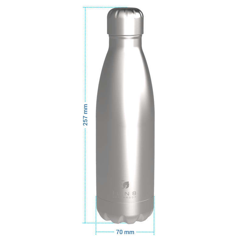 Ion8 Leak Proof Steel Vacuum Flask / Water Bottle 500ml / 17oz, Navy - Leakproof.co.uk