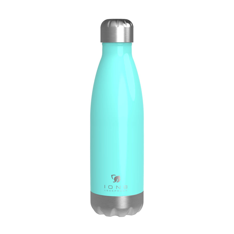 Ion8 Leak Proof Steel Water Bottle, Vacuum Insulated, Mint Aqua, 500ml