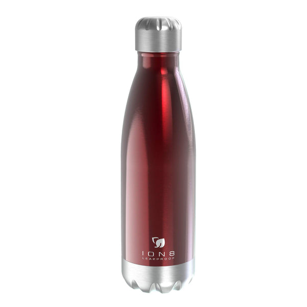 Ion8 Leak Proof Steel Vacuum Flask / Water Bottle 500ml / 17oz, Red - Leakproof.co.uk