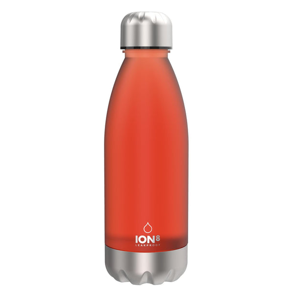 Ion8 Leak Proof Clear / Steel Water Bottle, BPA Free, Coral, 560ml