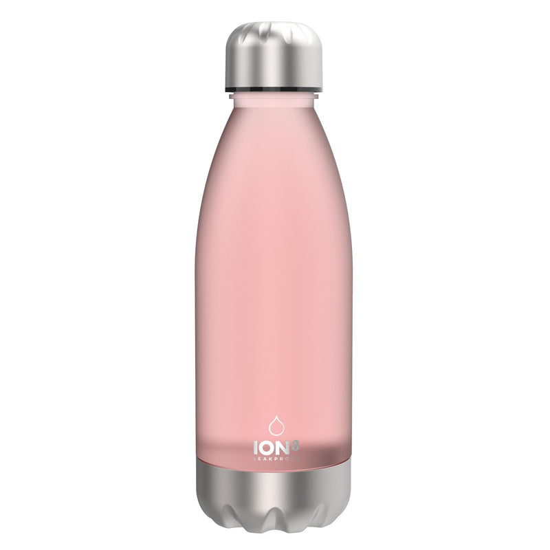 Ion8 Leak Proof Clear / Steel Water Bottle, BPA Free, Rose, 560ml