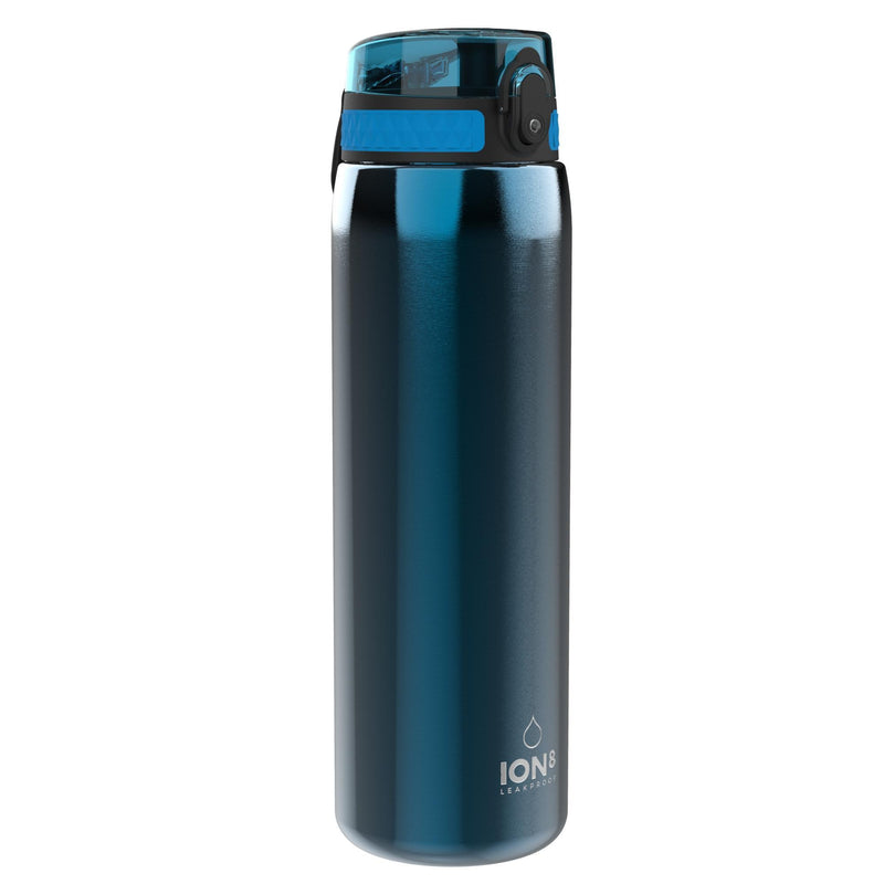 Ion8 Leak Proof 1 litre Sports Water Bottle, Stainless Steel, Blue, 1200ml