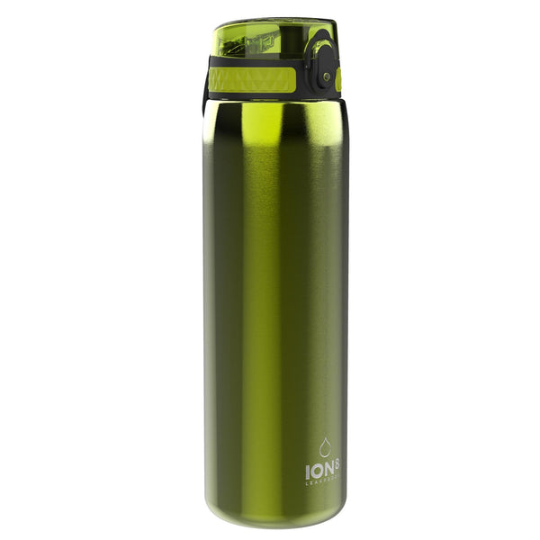 Ion8 Leak Proof 1 litre Sports Water Bottle, Stainless Steel, Green, 1200ml