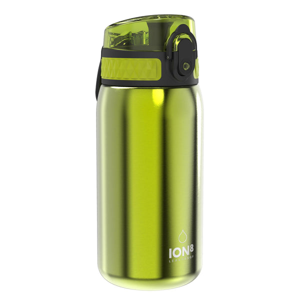 Ion8 Leak Proof Kids' Water Bottle, Stainless Steel, Green, 400ml