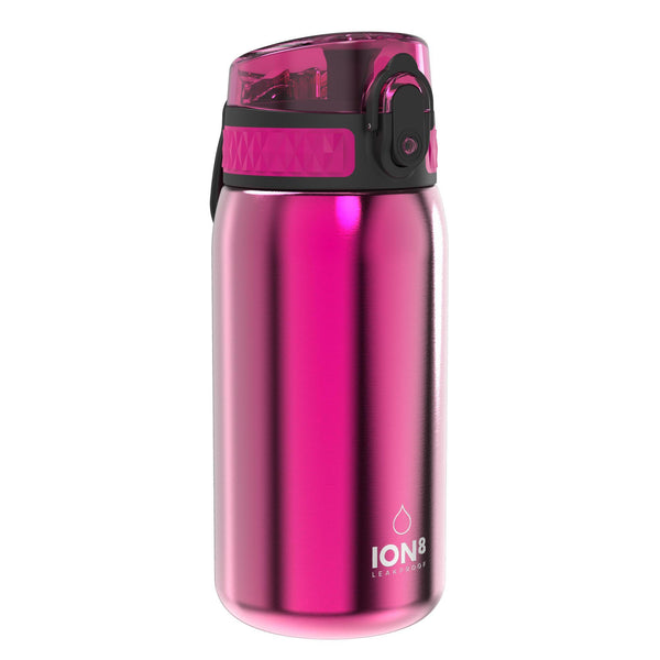 Ion8 Leak Proof Kids' Water Bottle, Stainless Steel, Pink, 400ml